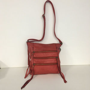 Lucky Brand Shannon Crossbody Leather Bag Red